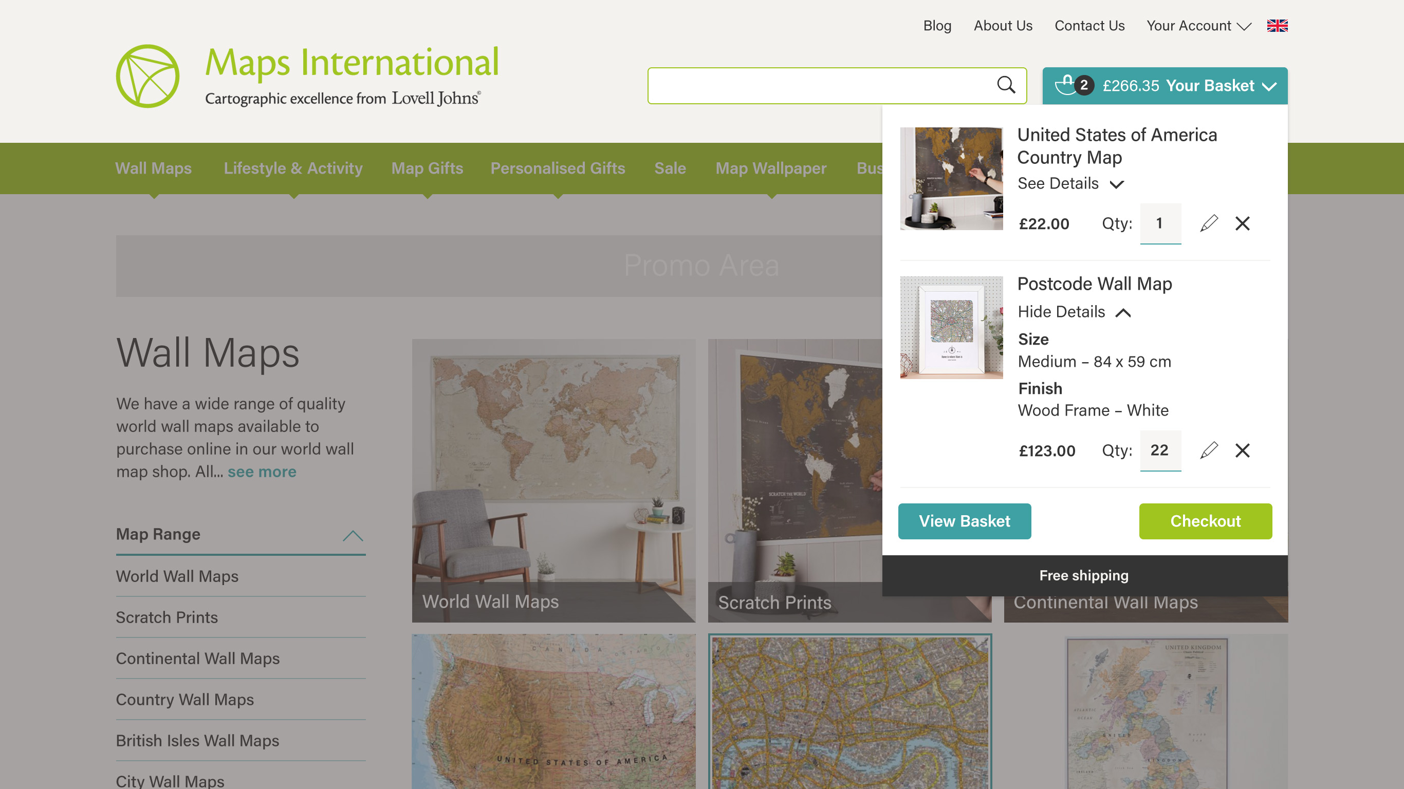 Maps International Quick Basket Feature