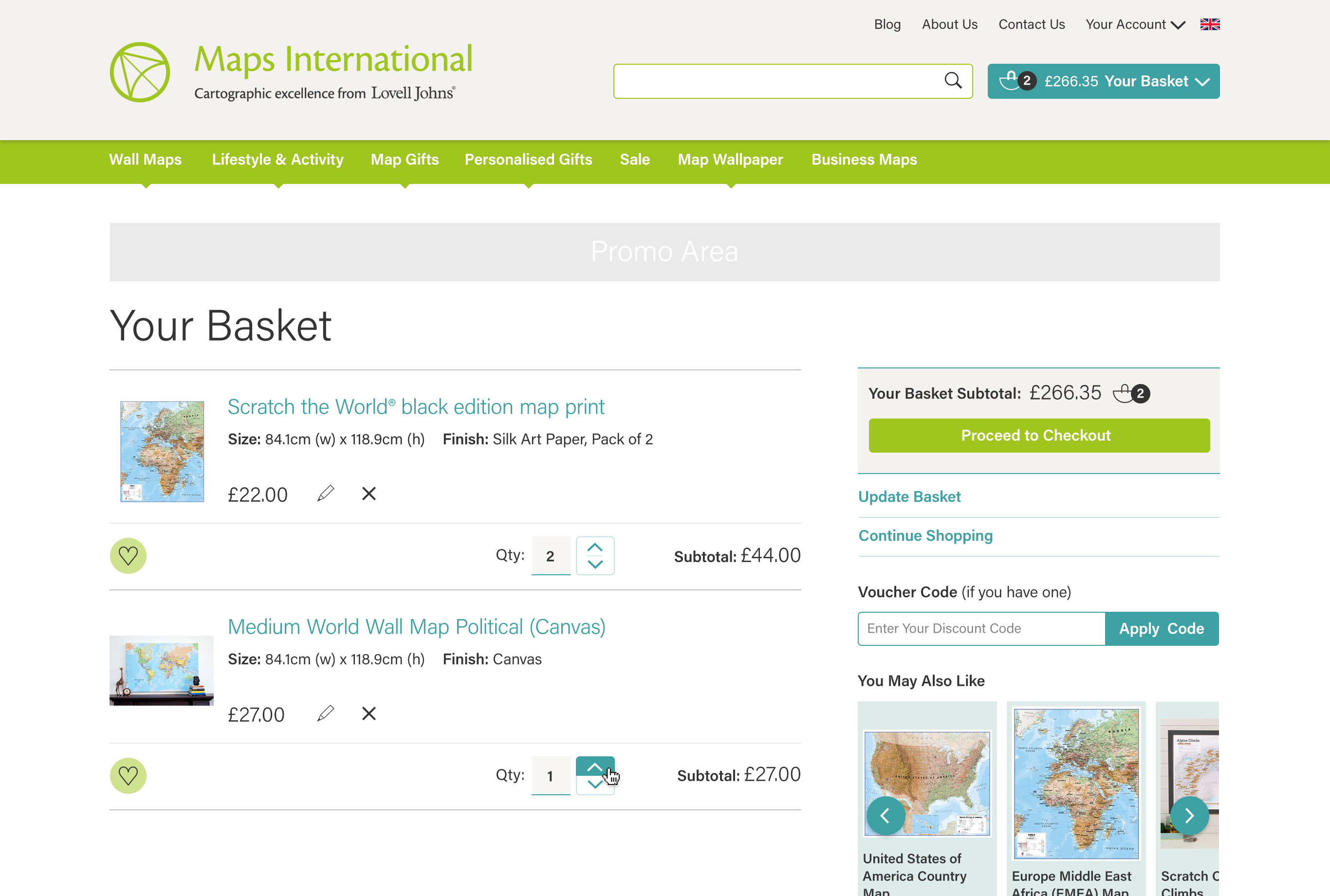 Maps International: Your Basket
