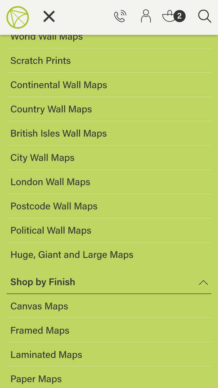 Maps International: Mobile menu